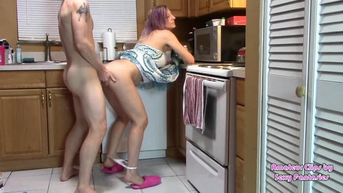 Brittany Lynn – Mom has Sex in Kitchen with Son Cumming in Her to Feel